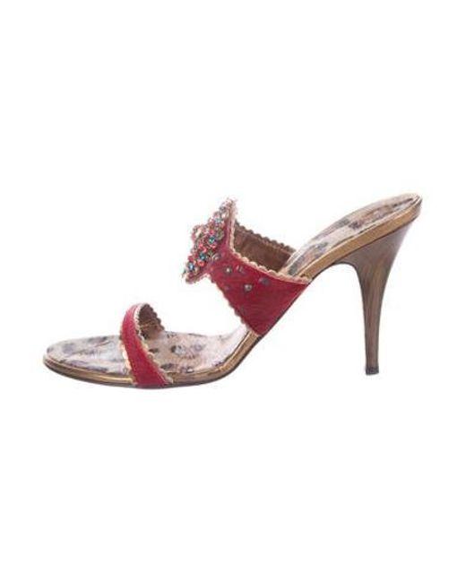 279e4e725d74 Giuseppe Zanotti - Red Ella Ponyhair Sandals - Lyst ...