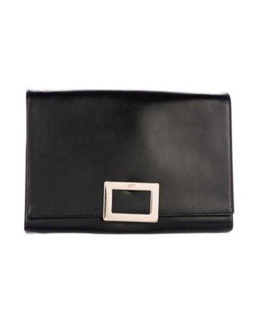 Roger Vivier - Metallic Leather Ines Bag Black - Lyst ... 72650d361f528
