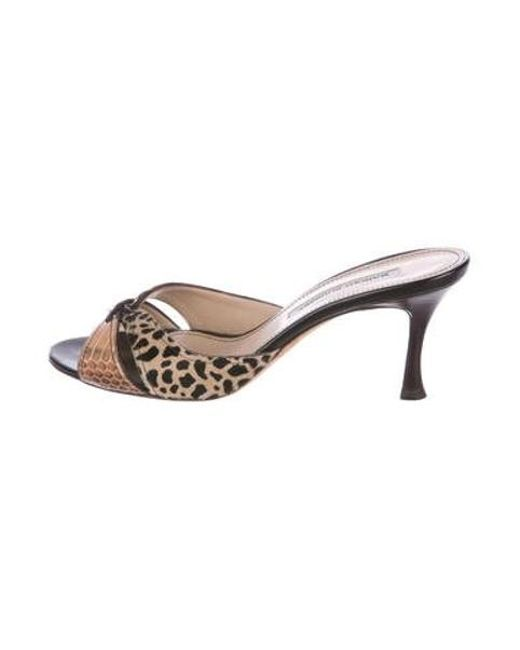 3f877d5053d5 Manolo Blahnik - Natural Snakeskin Slide Sandals Brown - Lyst ...