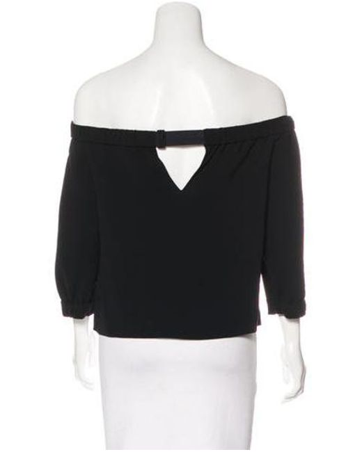 ffaa3aceb10fc Lyst - Tibi Off-the-shoulder Three Quarter Sleeve Top in Black ...