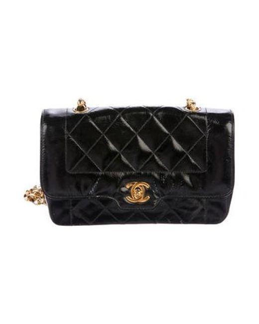 a5e430426d2a Chanel - Metallic Vintage Patent Flap Bag Black - Lyst ...