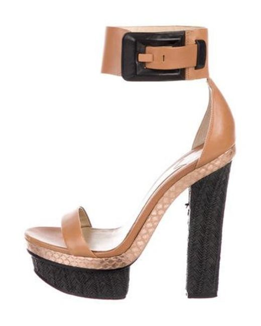 949dde0bf895 B Brian Atwood - Leather Ankle Strap Sandals Multicolor - Lyst ...