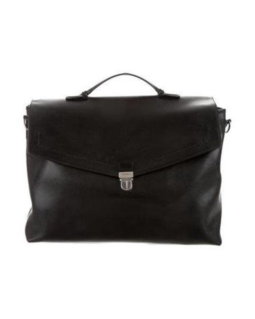 6079d464870b Ferragamo - Metallic Leather Messenger Bag Black for Men - Lyst ...