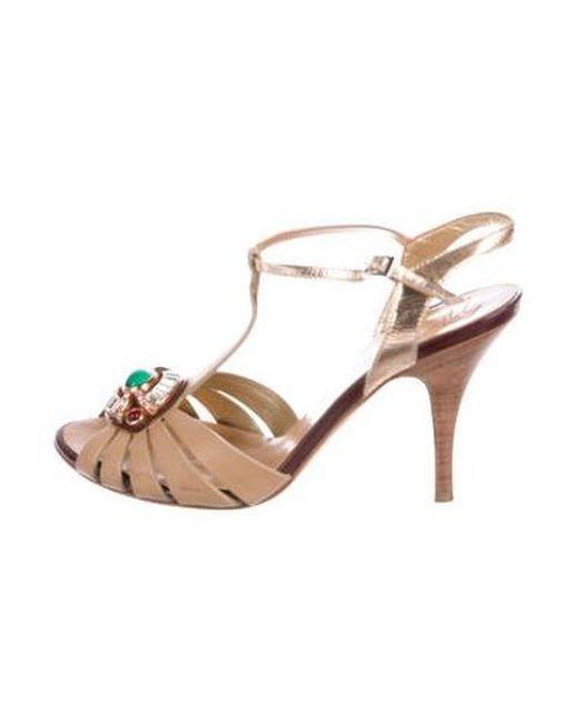 801be02b148 Giuseppe Zanotti - Natural Embellished T-strap Sandals Tan - Lyst ...