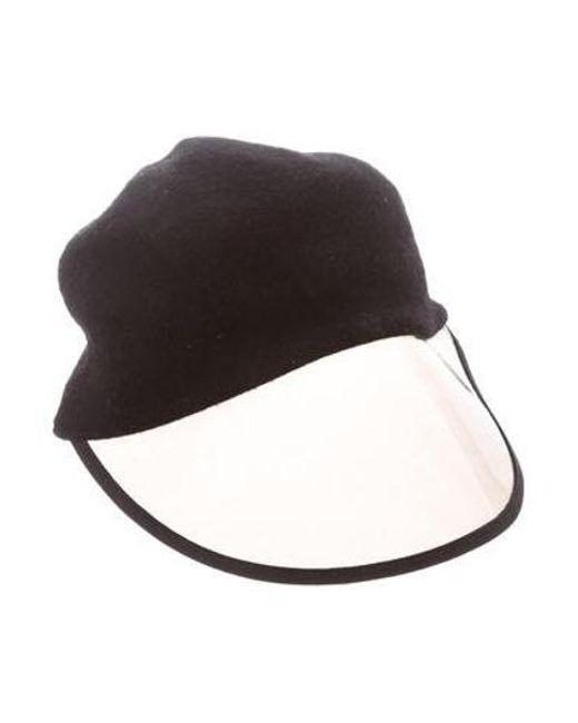 Women's Black Wool Pvc-trim Hat