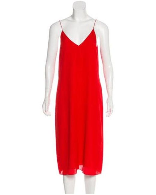 ad98498eaa8 T By Alexander Wang - Red Silk Midi Dress - Lyst ...