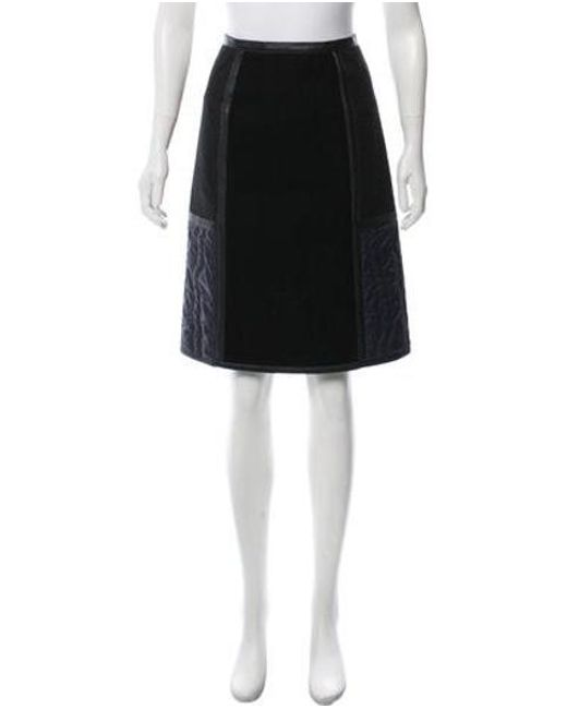 46faa281e Bottega Veneta - Black Leather-trimmed Knee-length Skirt - Lyst ...