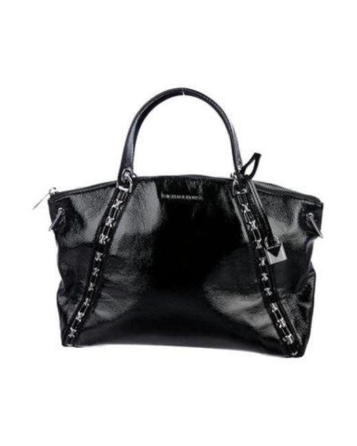 766059accd MICHAEL Michael Kors - Metallic Michael Kors Sadie Patent Leather Satchel  Black - Lyst ...