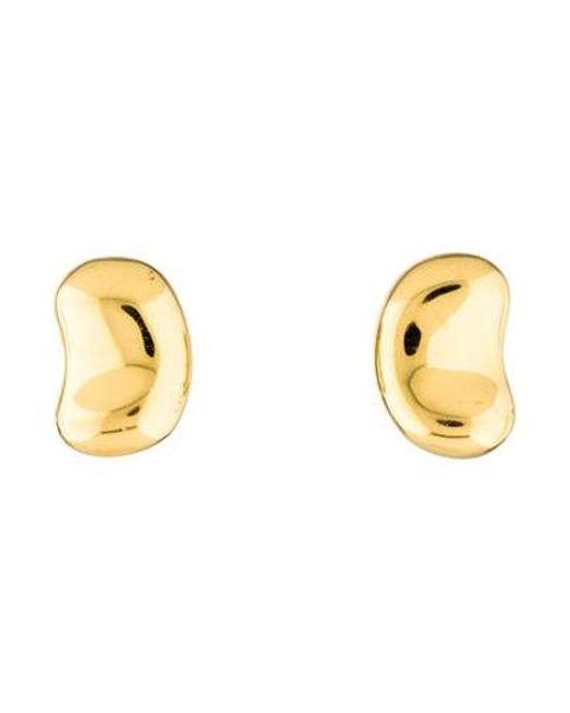 Tiffany Co Metallic 18k Bean Clip On Earrings Yellow