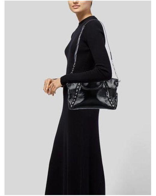 3a21b48910c2 ... MICHAEL Michael Kors - Metallic Michael Kors Sadie Patent Leather  Satchel Black - Lyst ...