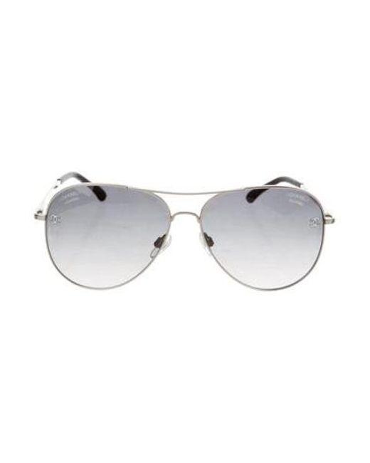 dd06b72f40a5 Chanel - Metallic Cc Pilot Sunglasses Silver - Lyst ...
