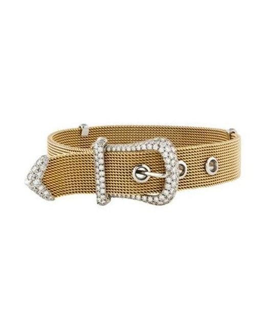 Tiffany & Co - Metallic Diamond Mesh Buckle Bracelet Yellow - Lyst
