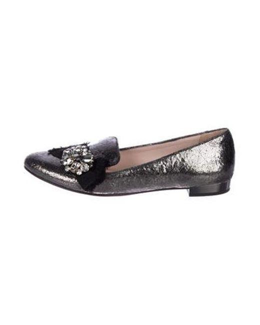 2658e01bb23 Miu Miu - Metallic Miu Embellished Loafers - Lyst ...