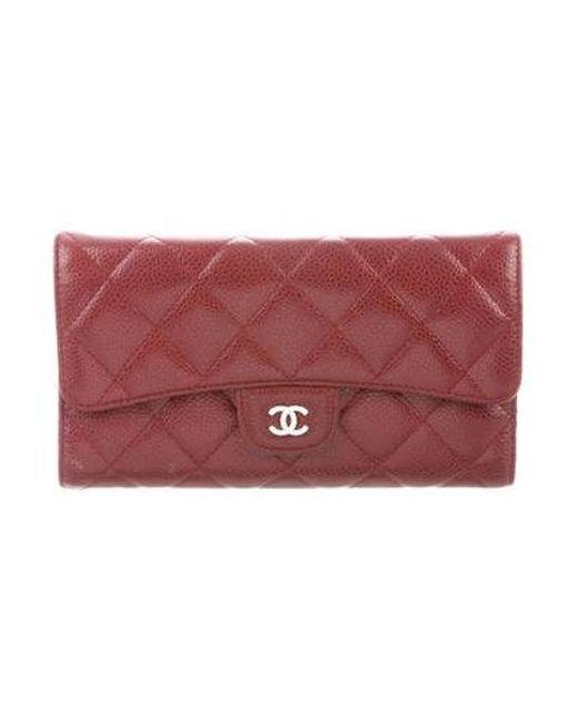 6f1267335067 Chanel - Metallic Caviar Trifold Wallet Silver - Lyst ...
