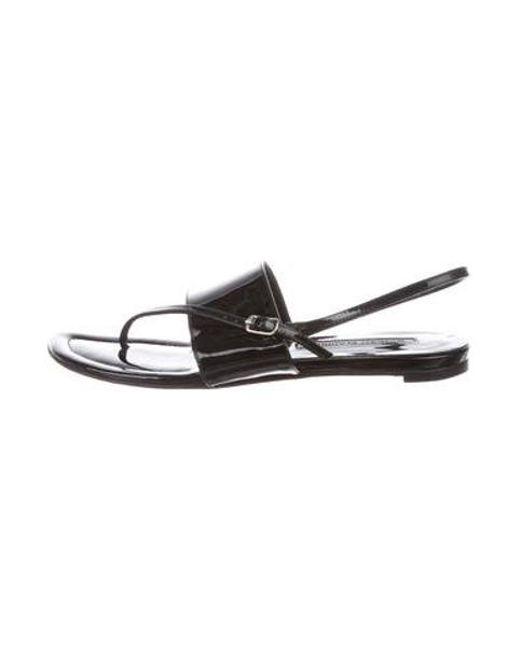 2263df84492ef Manolo Blahnik - Black Patent Leather Thong Sandals - Lyst ...