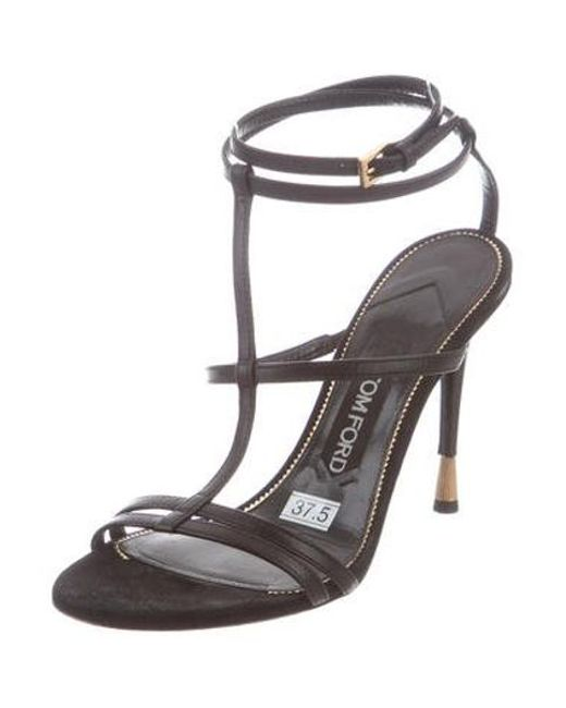 0c291fd97914 ... Tom Ford - Metallic Leather Ankle Strap Sandals Black - Lyst ...