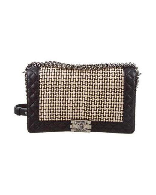 36e21c8af4dd77 Chanel - Natural Medium Plus Woven Boy Bag Black - Lyst ...