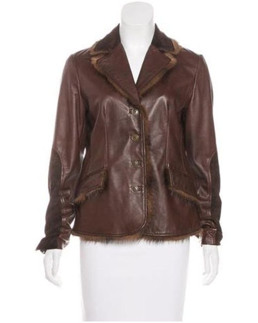 Blumarine - Brown Leather Fur-trimmed Jacket - Lyst