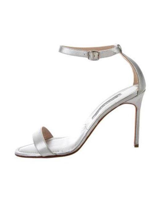c328c347184d Manolo Blahnik - Metallic Ankle Strap Sandals - Lyst ...