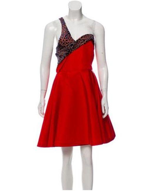 7800b435bbe Carolina Herrera - Red One-shoulder Knee-length Dress - Lyst ...