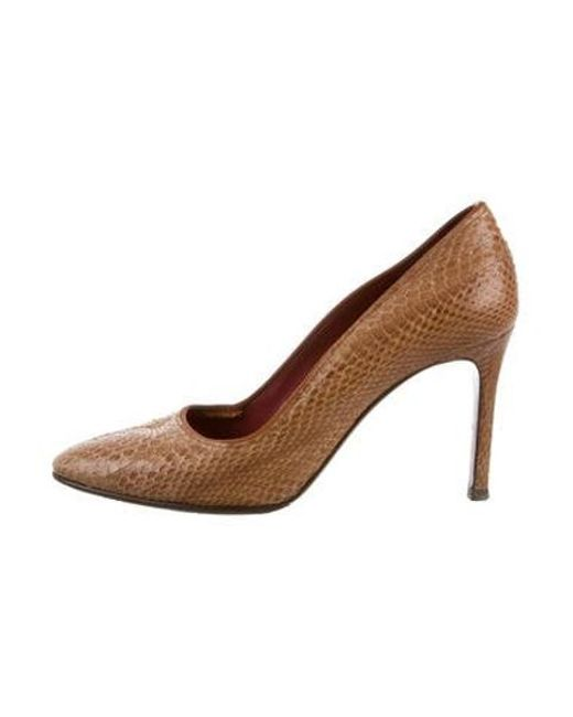 427780a8021 Lanvin - Natural Snakeskin Round-toe Pumps Tan - Lyst ...