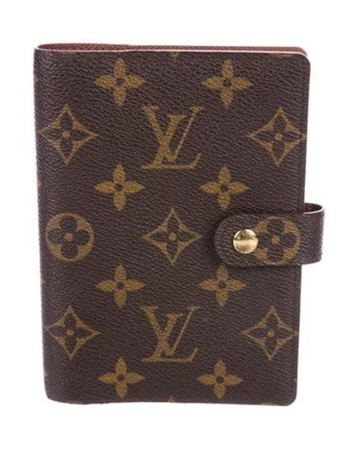 9a83445a45b3 Louis Vuitton - Metallic Monogram Small Ring Agenda Cover Brown - Lyst ...