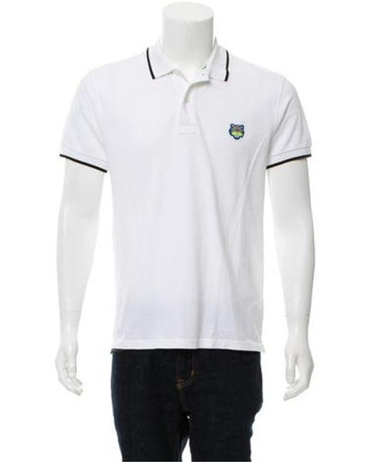 156df5391228 KENZO - White Tiger-embroidered Polo Shirt for Men - Lyst ...