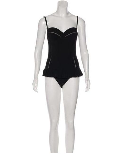 7c2b1783099 Tory Burch - Black Flounce One-piece Swimsuit W  Tags - Lyst ...