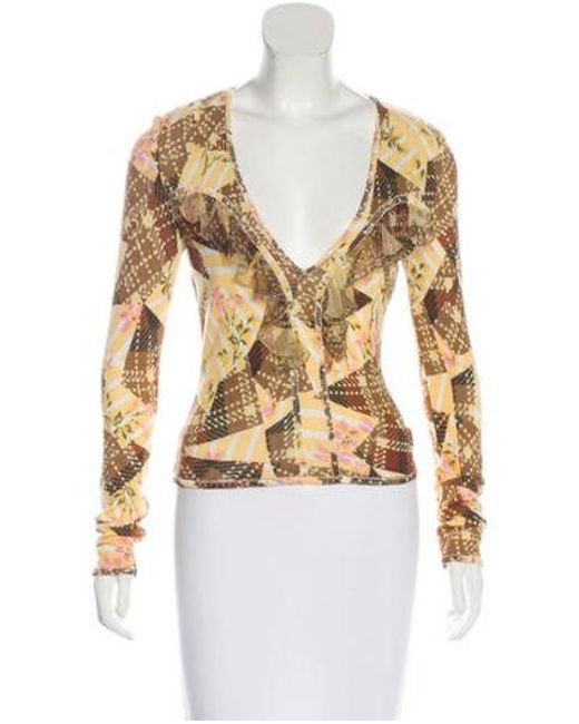 John Galliano - Yellow Printed Long Sleeve Top Brown - Lyst