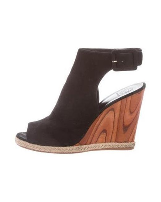 2b17b0784cce Tory Burch - Black Suede Open-toe Wedges - Lyst ...