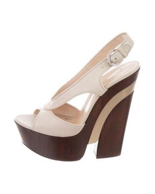 2628f6fe65 Casadei - Metallic Leather Platform Sandals Champagne - Lyst ...