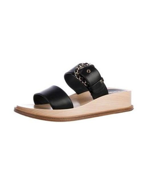 f6a9dace1d00 ... Chanel - Black Chain Leather Sandals - Lyst ...