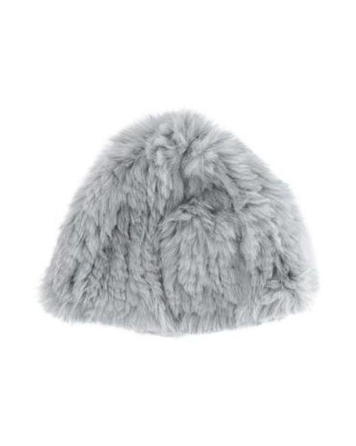 ... Adrienne Landau - Gray Knit Fur Hat Grey - Lyst ... f8fc7f4180a3