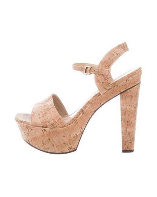ba347376239 Stuart Weitzman - Natural Platform Metallic Sandals Tan - Lyst ...
