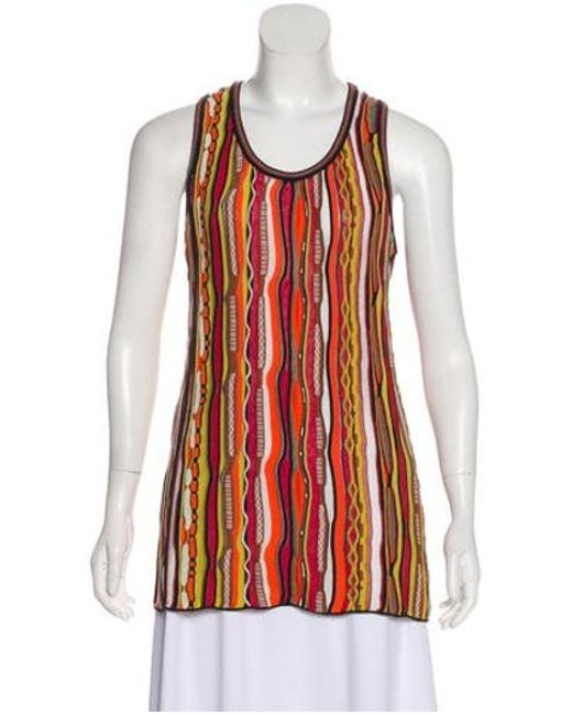 6dd5f1fc42ea2b M Missoni - Multicolor Knit Sleeveless Top Orange - Lyst ...