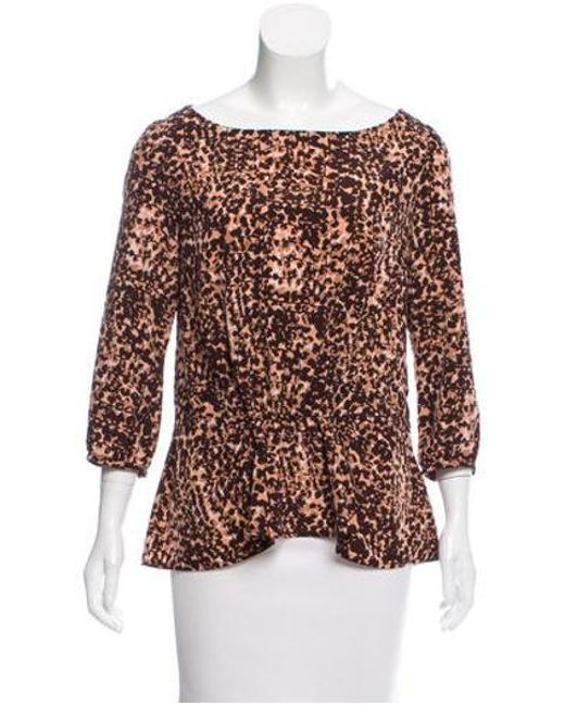 Thakoon - Brown Printed Long Sleeve Top - Lyst