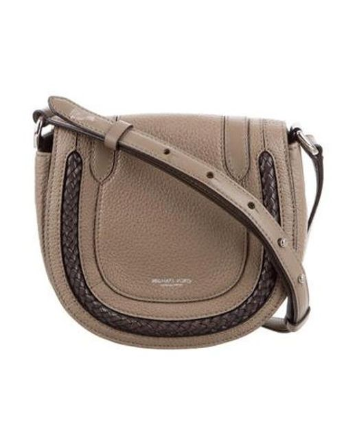 d11efcfe40aa Michael Kors - Metallic Leather Brooklyn Crossbody Bag Silver - Lyst ...
