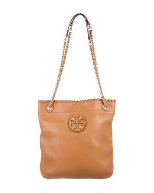 e3f221a7acb Tory Burch - Metallic Grained Leather Logo Tote Brown - Lyst ...