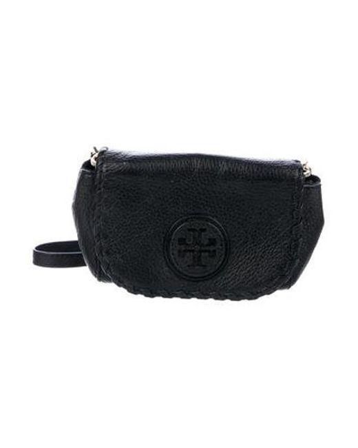 31264fb8e01c Tory Burch - Metallic Leather Logo Crossbody Black - Lyst ...