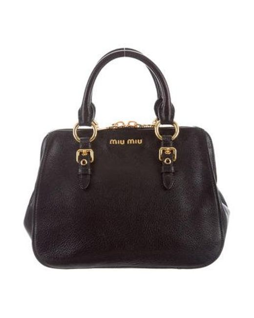 0e8d92db51a4 Miu Miu - Metallic Miu Grained Leather Satchel Black - Lyst ...