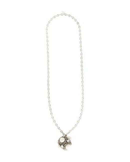 Erickson Beamon - Metallic Crystal And Faux Pearl Pendant Necklace Silver - Lyst