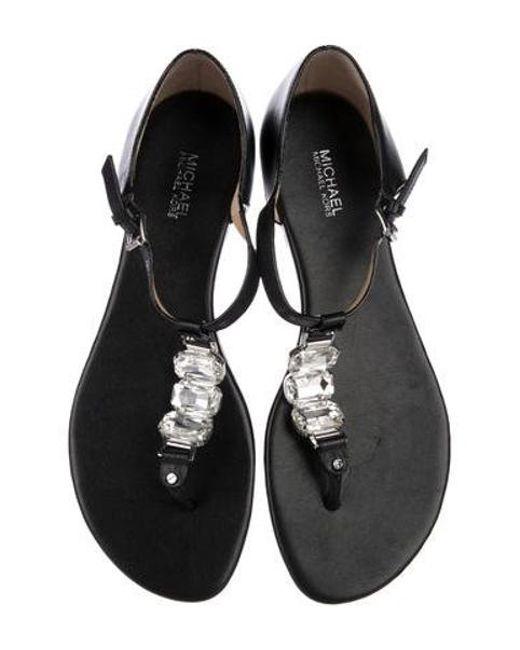 02711460bd196 ... MICHAEL Michael Kors - Black Michael Kors Embellished Leather Sandals -  Lyst ...
