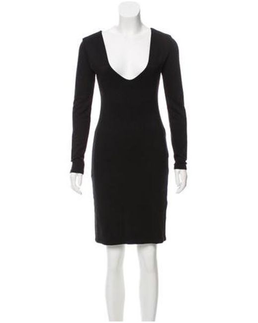 Lyst The Row Long Sleeve Knee Length Dress In Black Save