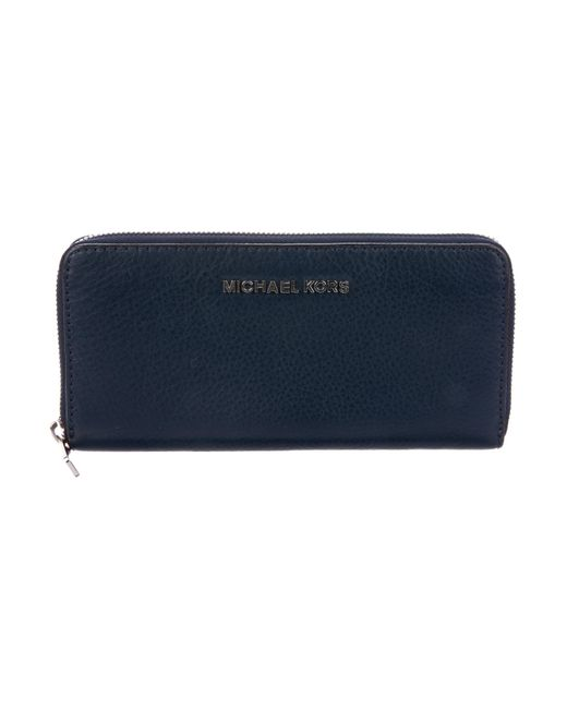 a2571161c02663 MICHAEL Michael Kors - Metallic Michael Kors Grained Leather Zip Wallet  Blue - Lyst ...