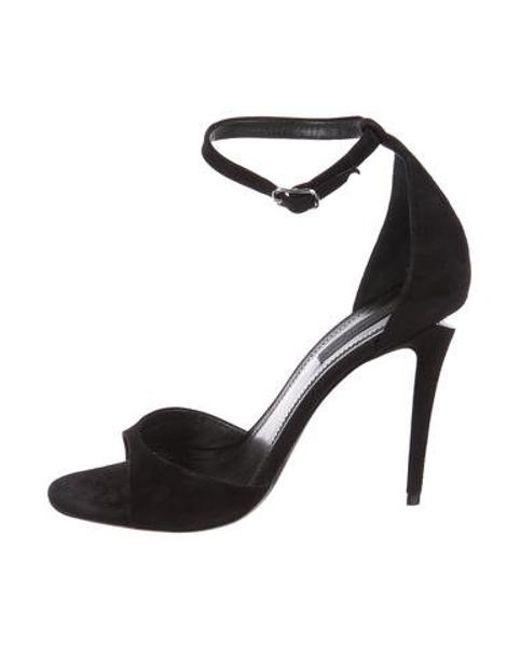 68a958257e5 Alexander Wang - Metallic Suede Ankle Strap Sandals Black - Lyst ...