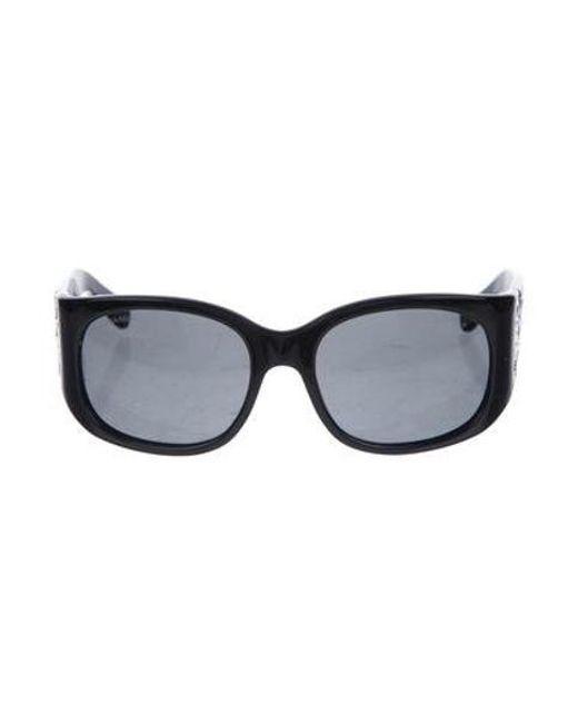 90354f758435 Chanel - Metallic Strass Cc Sunglasses Black - Lyst ...