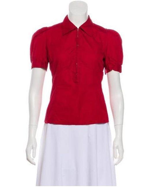e010a9f0be8 Miu Miu - Red Miu Short Sleeve Top - Lyst ...