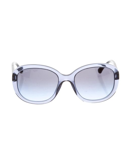 Chanel - Blue Quilted Oversize Sunglasses Navy - Lyst