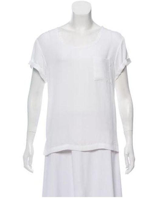 Rag & Bone - White Short Sleeve Scoop Neck Top - Lyst