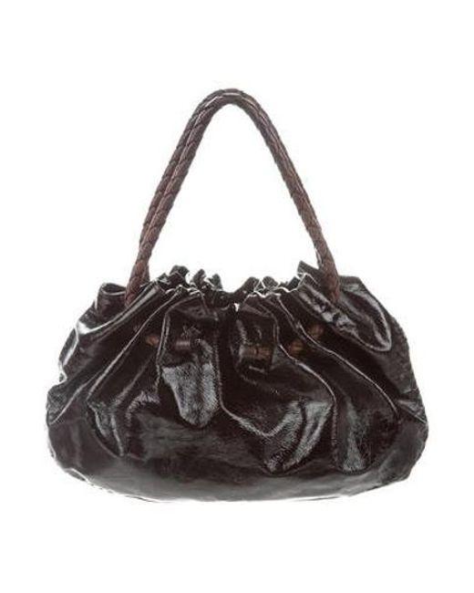 0b50009d65cf Bottega Veneta - Metallic Patent Leather Bag Brown - Lyst ...